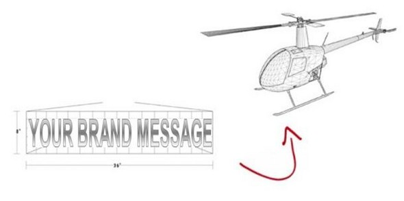 innovative billboards attached to helicopters